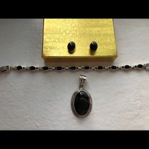 Onyx and silver earrings, bracelet and pendant